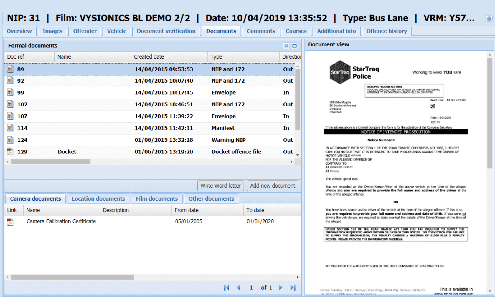 Dome's document management solution stores all documents relating to an incident in one place.